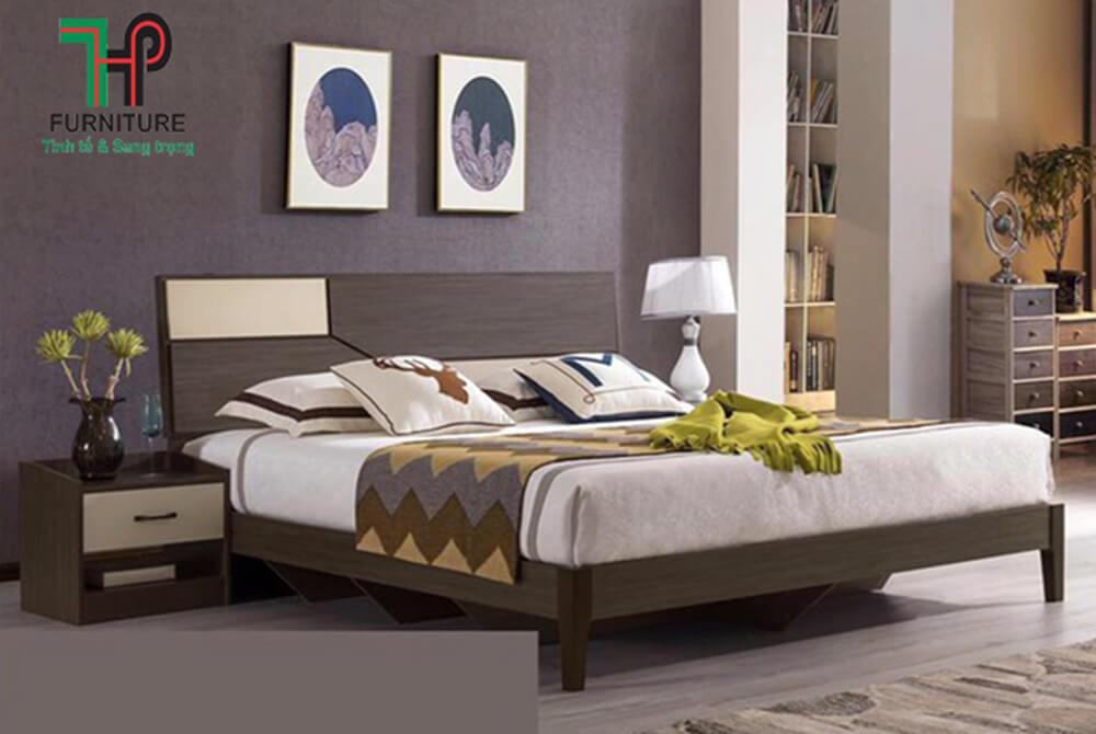 mẫu giường gỗ đẹp màu nâu