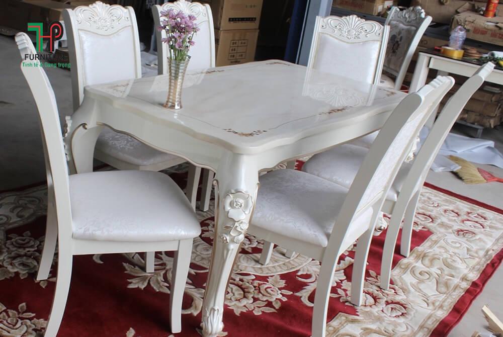 Bộ bàn ăn mặt đá 6 ghế tân cổ điển màu trắng TPHCM (1)