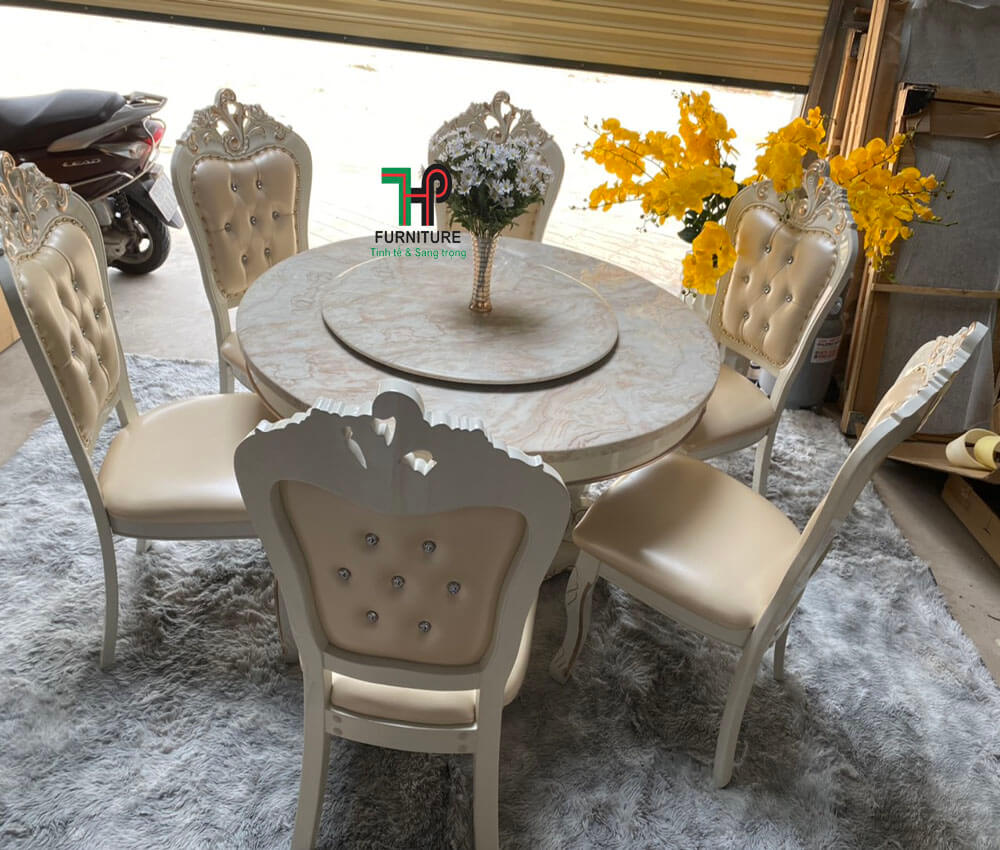 Bộ bàn ghế ăn mặt đá cổ điển màu trắng