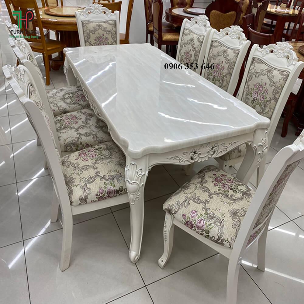 bàn ăn cổ điển màu trắng (1)