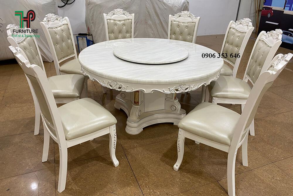 bàn ăn mặt đá tròn màu trắng