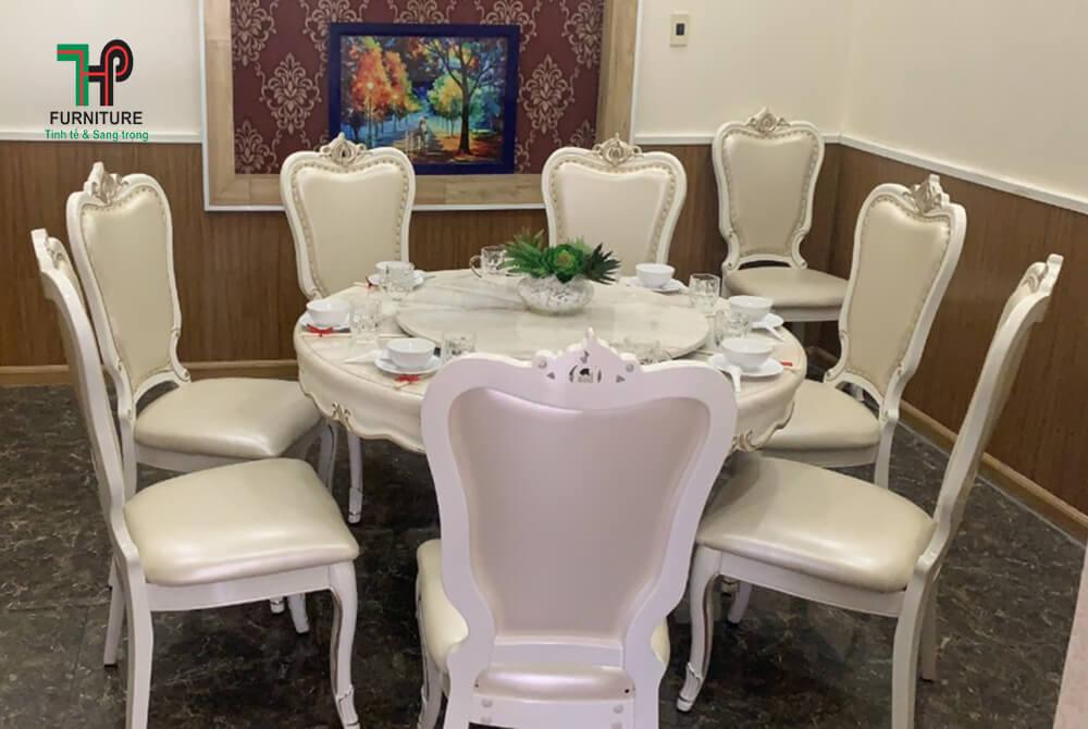 bộ bàn ăn tròn mặt đá màu trắng